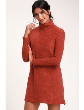 Alaina Rust Red Long Sleeve Turtleneck Sweater Dress by Lulus