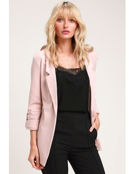 Love You More Blush Pink Blazer by Lulus