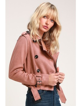 Edinburgh Mauve Suede Cropped Trench Coat by Lulus