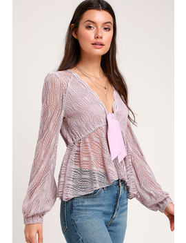 Luisa Lavender Lace Long Sleeve Babydoll Top by Free People