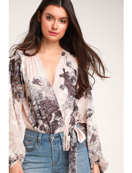 Jeanae Blush Floral Print Long Sleeve Bodysuit by Lulus X Astr