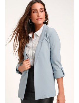 Love You More Light Blue Blazer by Lulus