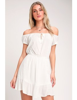 Arena Ivory Embroidered Off The Shoulder Mini Dress by Amuse Society