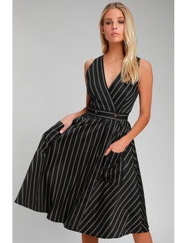 Refined Style Black Striped Midi Dress by Lulu's