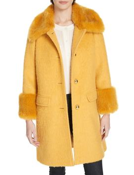 Faux Fur Trim Fluffy Coat by Kate Spade New York