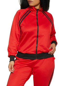 Plus Size Varsity Stripe Track Jacket Plus Size Varsity Stripe Active Joggers by Rainbow