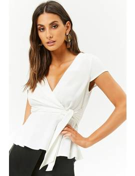 Surplice Shirred Hem Top by Forever 21