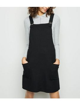 Black Cross Hatch D Ring Strap Pinafore Dress by New Look