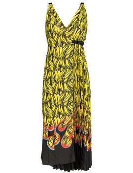 Sleeveless Banana Flame Print Dress by Prada
