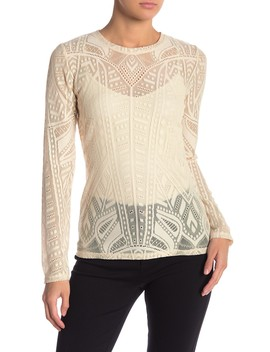 Agda Long Sleeve Lace Top by Bcbgmaxazria