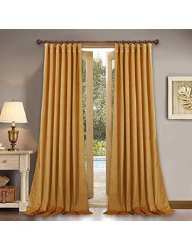 "108 Inches Long Velvet Curtains   Classic Thick Heavy Duty Velvet Drapes Soundproof Room Darkening Window Treatment Draperies For Living Room/French Door, Peacock Blue, 52"" X 108"" Each Panel, 2 Pcs by Stang H"