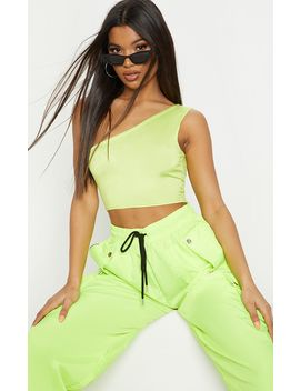 Basic Neon Lime One Shoulder Jersey Crop Top by Prettylittlething