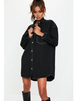 Black Denim Contrast Stitch Shirt Dress by Missguided