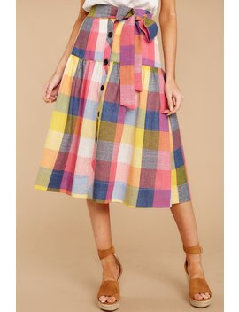 Like A Boss Babe Pink Gingham Skirt by English Factory