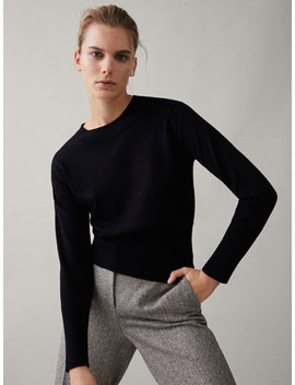 100 Percents Merino Wool Plain Sweater by Massimo Dutti