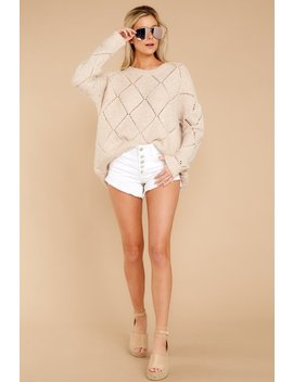 Number One Friend Beige Knit Sweater by Thyme Apparel