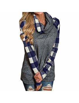 Tna Iolral Women Sweatshirt Turtleneck Plaid Tunic Long Sleeve Pullover Shirts by Tna Iolral