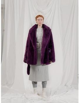 Faux Fur Strap Halfcoat Purple by 101 Moon