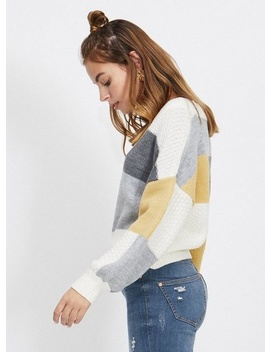 Petite Gray Colourblock Knitted Sweater by Miss Selfridge