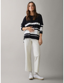 Uneven Striped Cape Style Sweater by Massimo Dutti