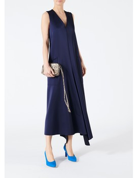 Bonded Satin Back Belt Dress by Tibi