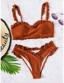 Frill Trim Top With Wrap Bikini Set by Romwe