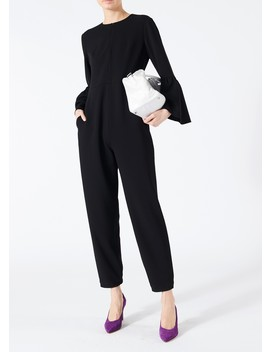 Structured Crepe Bell Sleeve Jumpsuit by Tibi