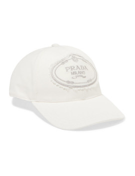 Embroidered Cotton Canvas Baseball Cap by Prada