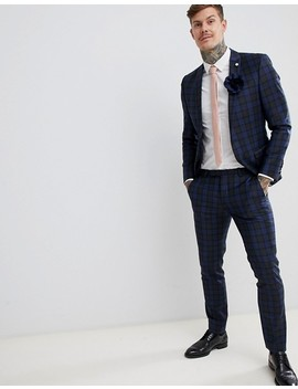 Twisted Tailor Super Skinny Suit Pants In Blue Check by Twisted Tailor