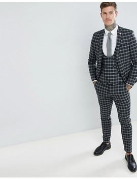 Twisted Tailor Super Skinny Suit Pants In Gray Check by Twisted Tailor