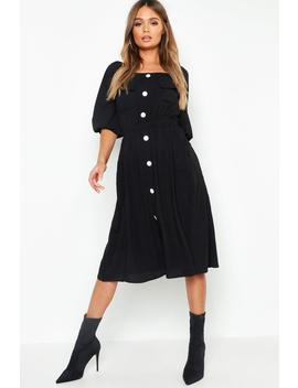 Square Neck Button Front Midi Dress by Boohoo