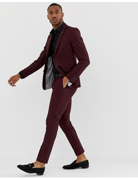 Avail London Skinny Fit Suit Pants In Burgundy by Avail London