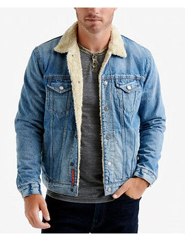 Men's Fleece Lined Denim Trucker Jacket by Lucky Brand