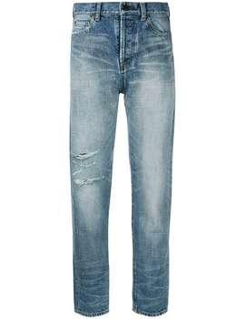 High Waist Distressed Jeans by Saint Laurent