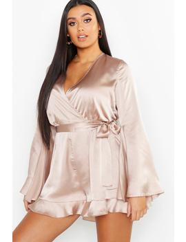 Plus Satin Flare Sleeved Ruffle Playsuit by Boohoo