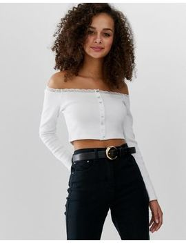 Asos Design Bardot With Button Front And Lace With Long Sleeve by Asos Design