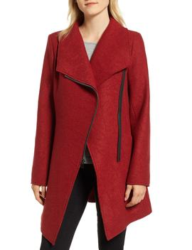 Asymmetrical Zip Boiled Wool Blend Coat by Halogen®
