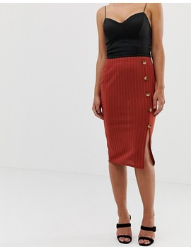 Boohoo Ribbed Knitted Button Down Side Split Midi Skirt In Terracotta by Boohoo