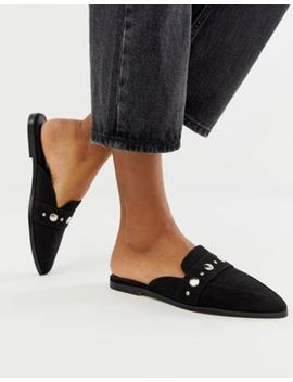 Asos Design Magpie Pointed Studded Mules In Black by Asos Design