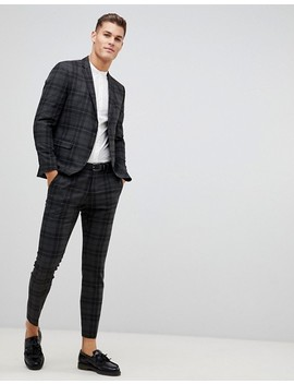 Selected Homme Gray Check Suit Pants In Slim Fit by Selected Homme