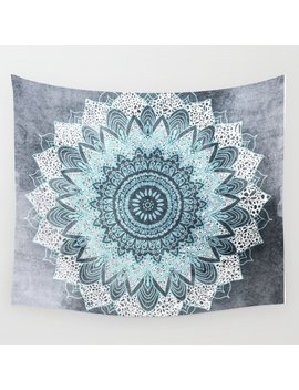 Bohochic Mandala In Blue Wall Tapestry by