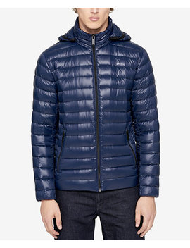 Men's Packable Down Hooded Puffer Jacket by Calvin Klein