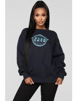 World Peace Sweatshirt   Navy by Fashion Nova