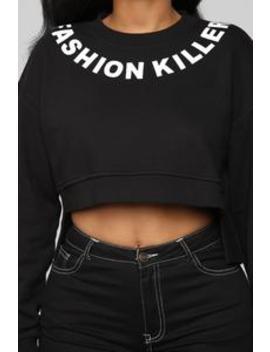Fashion Killer Distressed Sweatshirt   Black by Fashion Nova