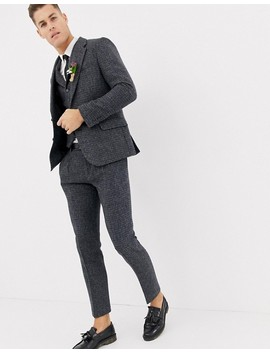 Asos Design Wedding Slim Suit Pants In 100 Percents Wool Harris Tweed Blue Micro Check by Asos Design