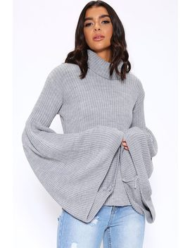 Grey Roll Neck Oversized Flare Sleeve Jumper by I Saw It First
