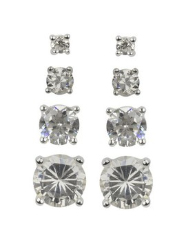 Sterling Silver Cubic Zirconia Quad Multi Size Stud Earring Set   Clear by Target