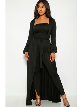 Black Two Piece Duster Jumpsuit Outfit by Ami Clubwear
