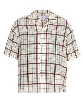 Short Sleeved Check Print Silk Shirt by Dunhill