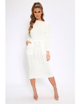 Cream Tie Waist Cable Knit Dress by I Saw It First